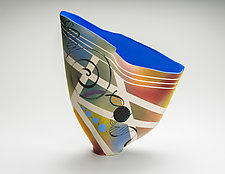 Sailvase with Midnight Blue Interior by Jean Elton (Ceramic Vase)