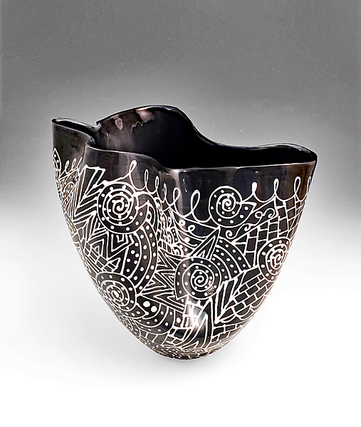 Black and White Sculpted Tall Vase with Intricate Pattern I