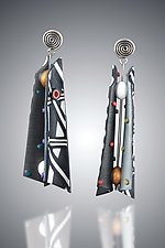 Razor Shell - Black White Mix by Arden Bardol (Polymer Clay Earrings)