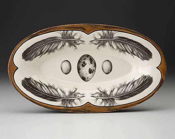 Oblong Serving Dish: Quail Feather