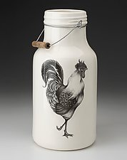 Jug with Handle: Rooster by Laura Zindel (Ceramic Vessel)