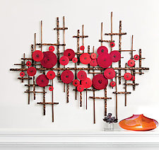 Ripples in Red by Hannie Goldgewicht (Mixed-Media Wall Sculpture)