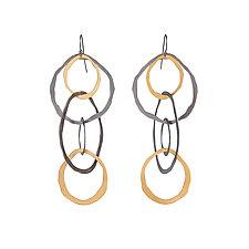 Large Jumble Earrings by Lisa Crowder (Gold & Silver Earrings)