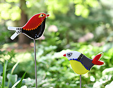 Carmen and Lovey Garden Birds by Terry Gomien (Art Glass Sculpture)