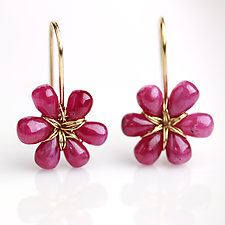 Pink Sapphire Flowers by Wendy Stauffer (Gold & Stone Earrings)