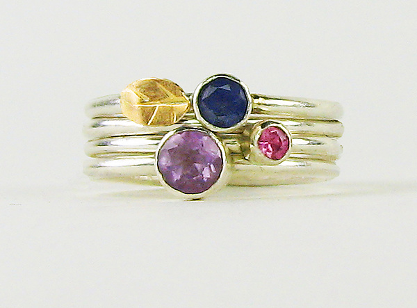 Four-Ring Stack with Amethyst, Kyanite & Sapphire