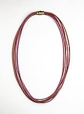 Saturn Magenta Zipper Necklace by Kate Cusack (Zippered Necklace)