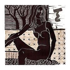 Pensive by Ouida  Touchon (Linocut Print)