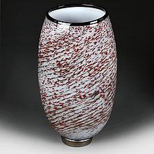 Zymova Vyshnya (Winter Cherries) Prototype Flat-sided Vase by Eric Bladholm (Art Glass Vessel)