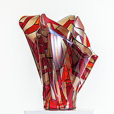 Flowering Red by Varda Avnisan (Art Glass Sculpture)