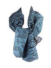 Accordion Drape Pleats Scarf in Blue & Black by Yuh Okano (Woven Scarf)