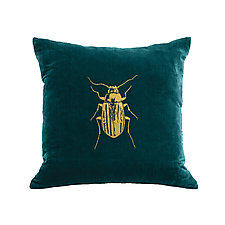 Gilded Luxe Beetle Pillow by Helene  Ige (Velvet Pillow)