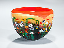 Garden Series Bowl in Red and Yellow by Shawn Messenger (Art Glass Bowl)