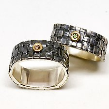 Square Basket Weave Ring by Linda Bernasconi (Gold, Silver & Stone Ring)