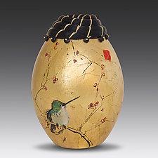 Hummingbird Horsehair Vessel by Valerie Seaberg (Ceramic Vessel)