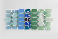 Forest to Sky Graduated Art Glass Grid by Nina  Cambron (Art Glass Wall Sculpture)