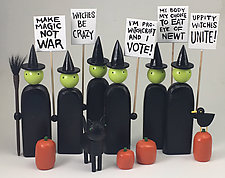 Picketing Witches by Hilary Pfeifer (Wood Sculpture)