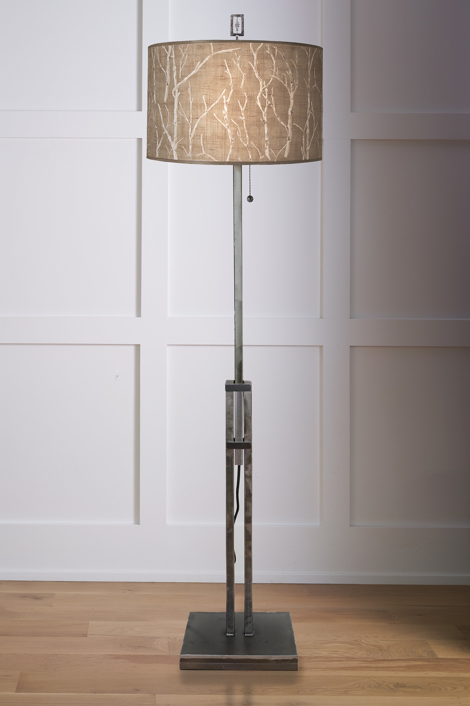 Adjustable Height Steel Floor Lamp With Large Drum Shade