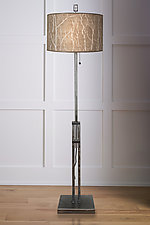 Adjustable Height Steel Floor Lamp with Large Drum Shade in Twigs by Janna Ugone and Justin Thomas (Mixed-Media Floor Lamp)