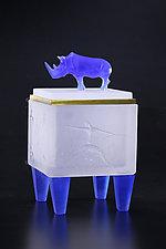 Rhino Box II by Georgia Pozycinski and Joseph Pozycinski (Art Glass & Bronze Sculpture)