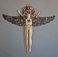 Winter Flower Angel by Elizabeth Frank (Wood Wall Sculpture)