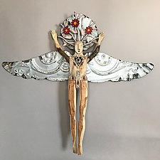 Winter Flower Angel by Elizabeth Frank (Wood Wall Sculpture)