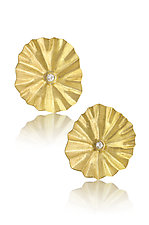 Diamond Lotus Earrings by Petra Class (Gold & Stone Earrings)