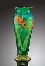 Teal Iridescent Bird of Paradise Vase by Orient & Flume Art Glass (Art Glass Vase)