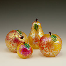 Gold Iridescent Venetian Apple by Orient & Flume Art Glass (Art Glass Sculpture)