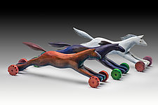 Racing Horses by Dona Dalton (Wood Sculpture)