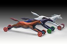 Racing Horses by Dona Dalton (Wood Sculpture)