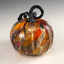 Harvest Surreal Pumpkins with Black Stems by Leonoff Art Glass  (Art Glass Sculpture)