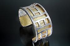 Wide Radiance Cuff by Sana  Doumet (Gold & Silver Bracelet)