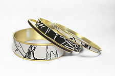 Organic Black & Ivory Bangle Bracelets by Louise Fischer Cozzi (Polymer Clay Bracelets)
