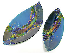 Boat Leaf with Turquoise by Karen Ehart (Art Glass Platter)
