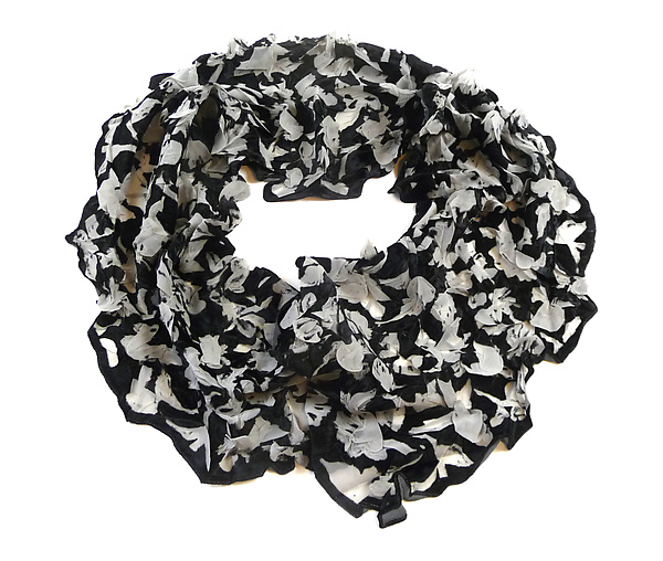 Large Flower Petal Print & Pleats Scarf in Black & Ivory