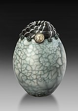 Raku Vessel with Indian Head Coin by Valerie Seaberg (Ceramic Vessel)