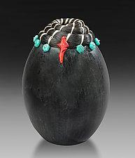 Horsehair Coral Vessel by Valerie Seaberg (Ceramic Vessel)