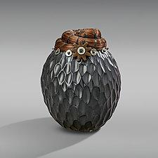 Boot Spur Horsehair Vessel by Valerie Seaberg (Ceramic Vessel)