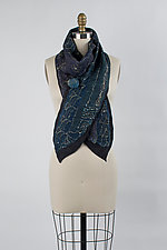 Chennai Embroidered Scarf by Janice Kissinger  (Silk & Wool Scarf)