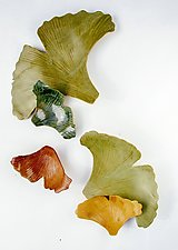 Spring Ginkgoes by Amy Meya (Ceramic Wall Sculpture)