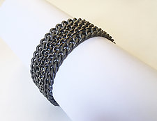 Cable and Curb Chain Bracelet by Dennis Higgins (Silver & Steel Bracelet)