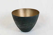 Matte Black and Gold Tall Vase with Subtle Lines and Dots by Jean Elton (Ceramic Vase)