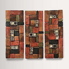 Hidden Treasure Panel Triptych by Rhonda Cearlock (Ceramic Wall Sculpture)