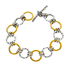 Stamp Ring Bracelet in Mixed Metal by Jodi Brownstein (Gold & Silver Bracelet)