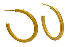 Large Stamped Hoop in Vermeil by Jodi Brownstein (Gold & Silver Earrings)