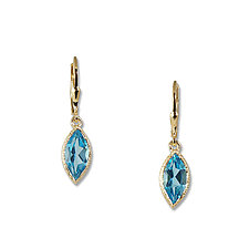 Gold Blue Topaz Marquise Earrings II by Suzanne Q Evon (Gold & Stone Earrings)