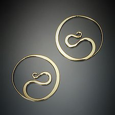 Cradle Hoops in 14K Yellow Gold by Susan Panciera (Gold Earrings)