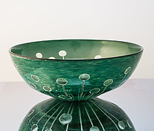 Green Radial Dot Bowl by Richard S. Jones (Art Glass Bowl)