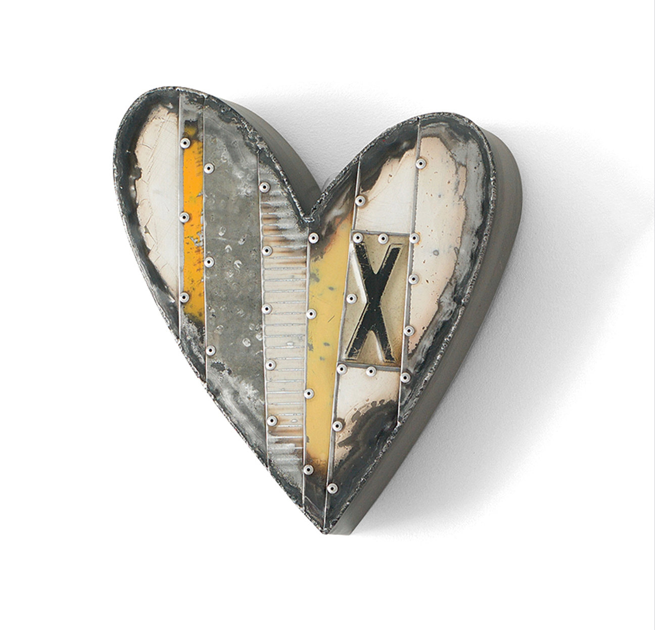 small yellow heart with x by anthony hansen metal wall sculpture artful home. Black Bedroom Furniture Sets. Home Design Ideas